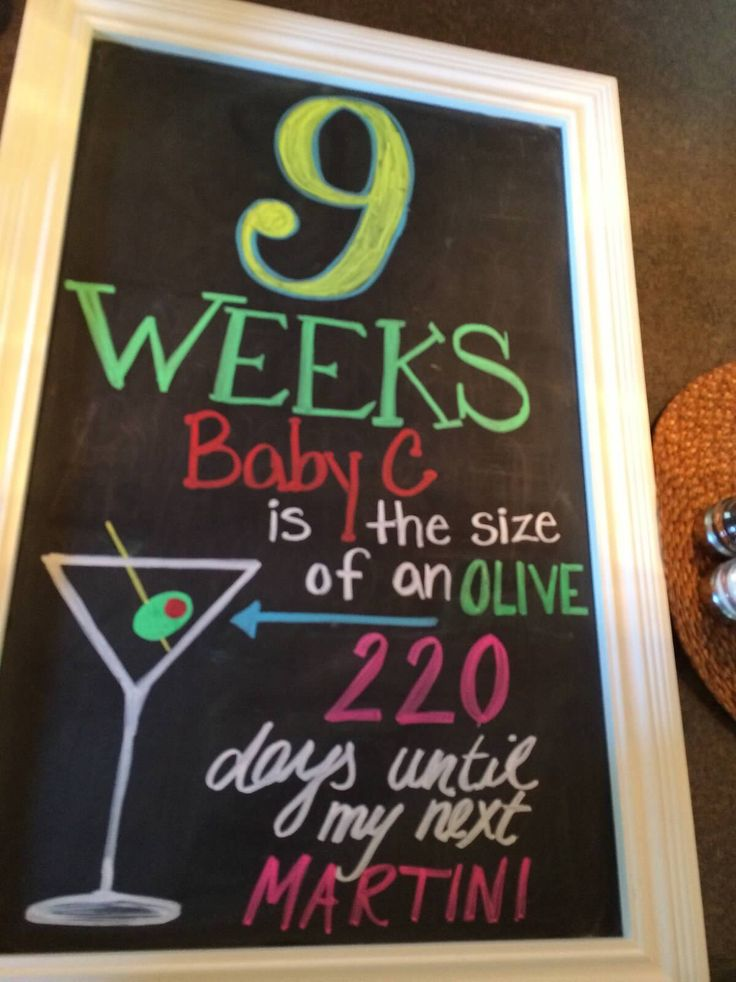 9 week pregnancy chalkboard