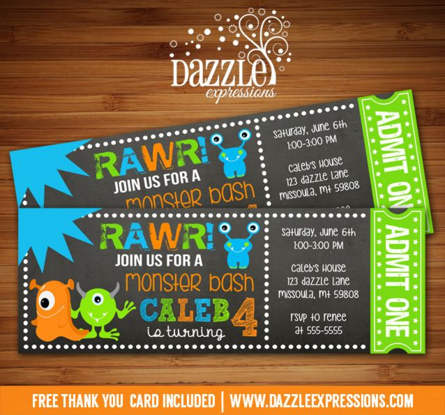 Printable Chalkboard Monster Ticket Birthday Invitation | Bite | Digital File | Boy Birthday Party Idea | FREE thank you card | Party Package Available | Banner | www.dazzleexpressions.com