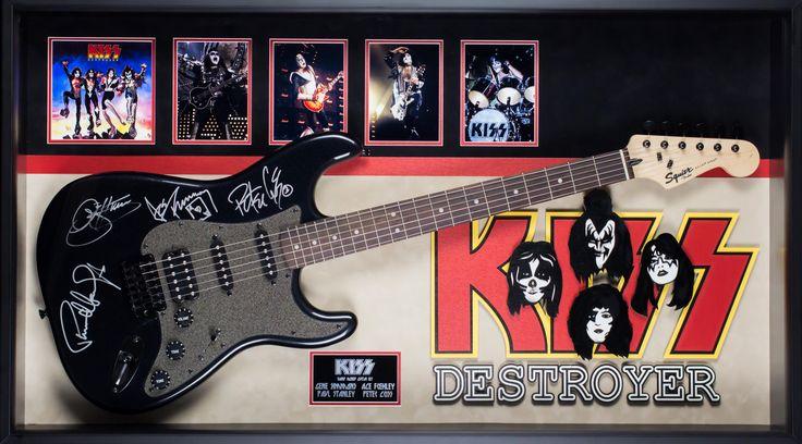 KISS Original Band Autographed Destroyer Signed Guitar in Framed Case