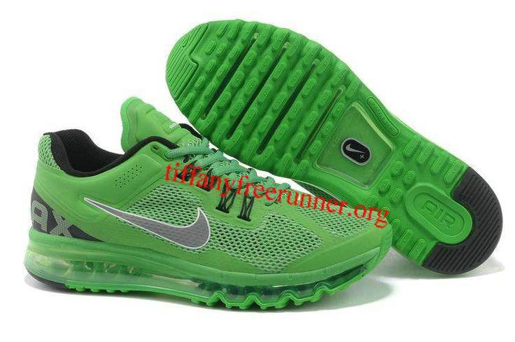 Mens Nike Air Max 2013 Green Apple Silver Shoes