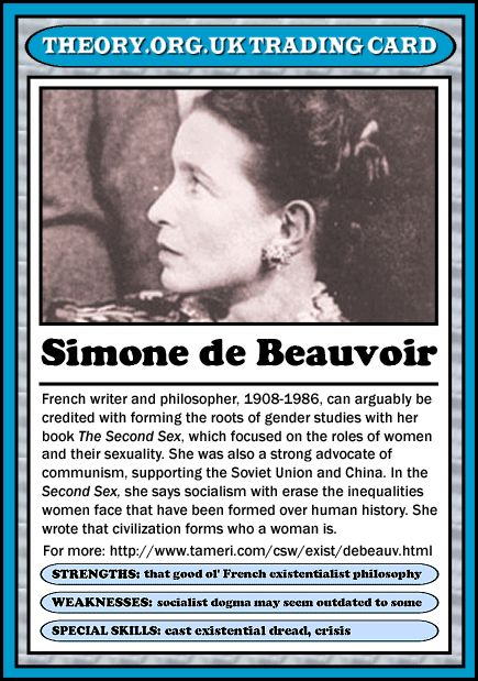 Simone de Beauvoir - Theory.org.uk trading cards