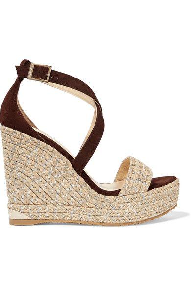 Jimmy Choo - Portia Suede Wedge Sandals - Brown - IT36.5