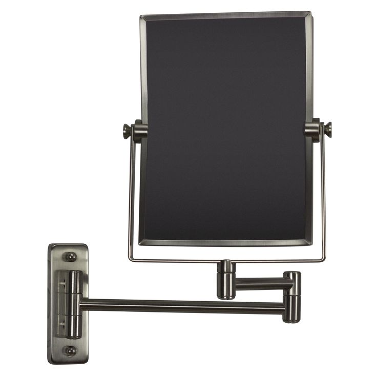American Imaginations 16.36-in. W Rectangle Brass-Mirror Wall Mount Magnifying Mirror In Brushed Nickel Color