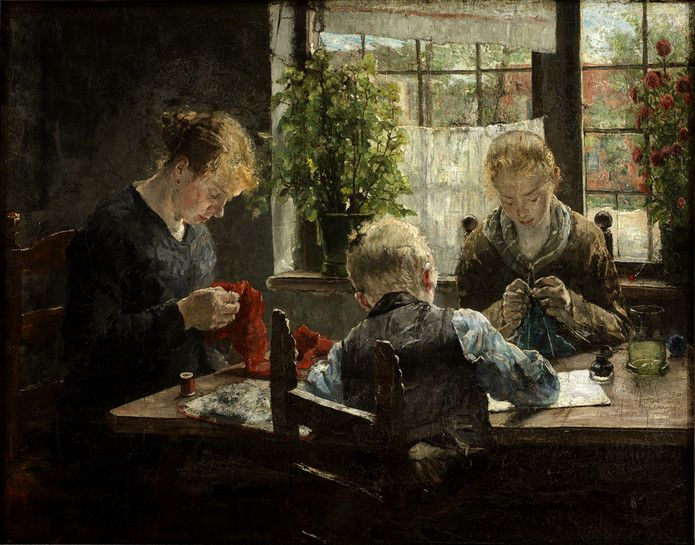 The Busy Family – ca. 1885 - Fritz Karl Hermann von Uhde - German, 1848-1911 Oil on paper, mounted on panel 47.9 x 61 x 2.9 cm (18 7/8 x 24 x 1 1/8 inches) - RISD MUSEUM