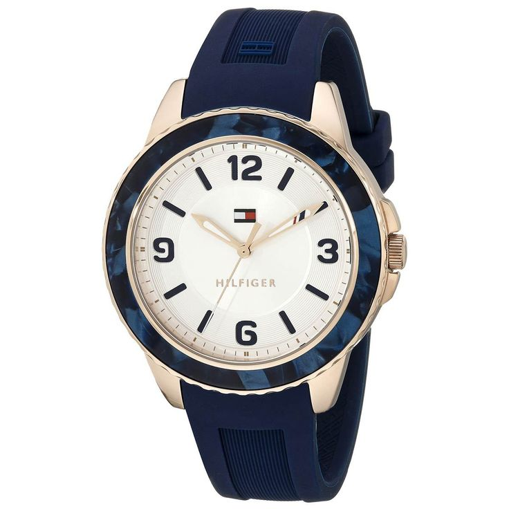 Tommy Hilfiger 1781539 Women's Everyday Sport Silver Dial Rose Gold Steel Blue Silicone Strap Watch - Discount Watch…