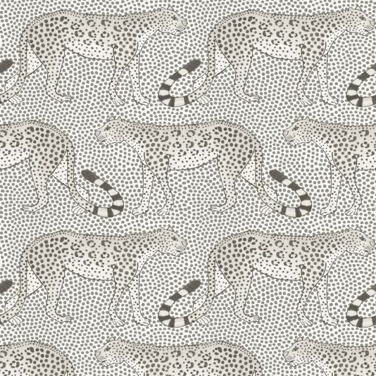 Leopard Walk Wallpaper A magnificent wallpaper with leopards marching left and right across a spotted ground. The design was originally painted by Punch Shabalala, one of Ardmore Ceramics' oldest and most esteemed artists. Shown here in black and white.