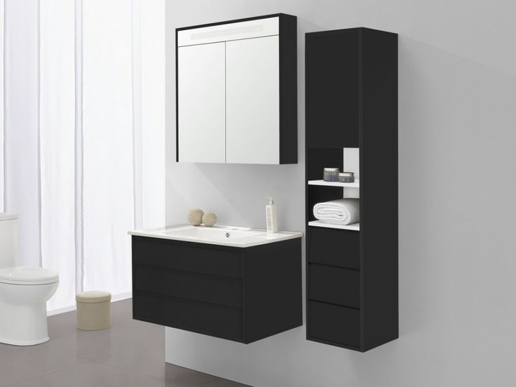 Ensemble de salle de bain aissa miroir et colonne noir - Colonne salle de bain noir laque ...