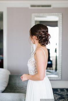 Elegant romantic wedding curled updo hairstyle inspiration  {Nadya Vysotskaya Photography}