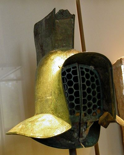 Helmet of a murmillo ( a type of gladiator during the Roman Imperial age), 2nd century AD, Neues Museum, Berlin