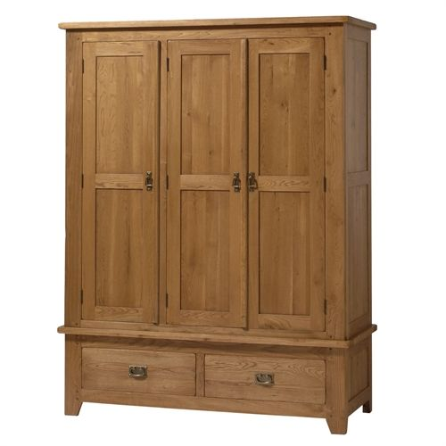 Rustic Oak Triple Wardrobe including free delivery (808.414) | Pine Solutions - NROTR