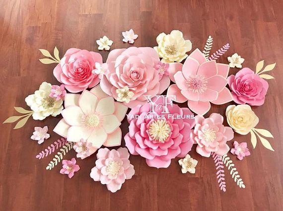23 Piece Flower Backdrop Paper Flowers Paper Flower Backdrop
