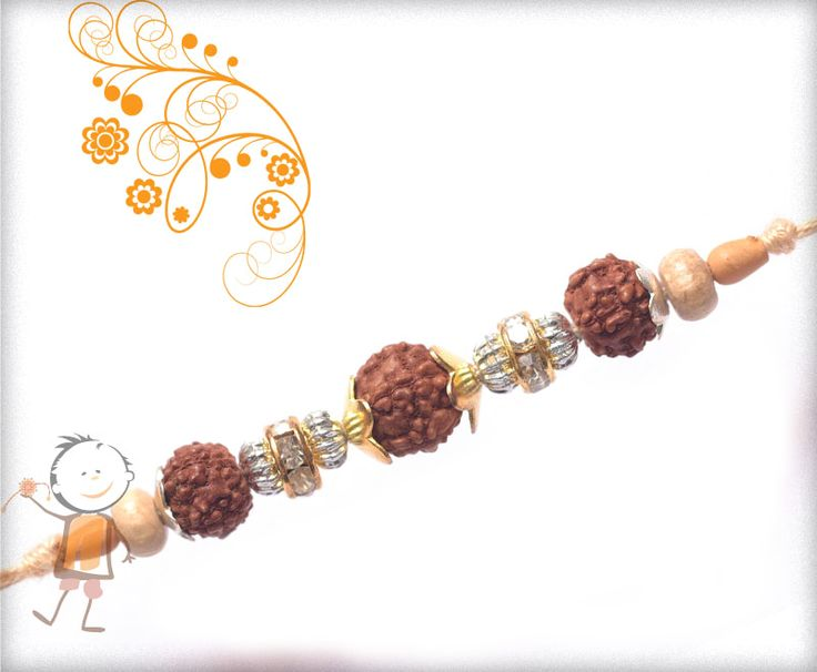 Rudraksh #Rakhi Collection 2015 – Send  #Rakhi to #India, #USA, #UK, #Canada, #Australia, #Dubai #NZ #Singapore. 3 Rudraksh with Diamond Ring Rakhi, surprise your loved ones with roli chawal, chocolates and a greeting card as it is also a part of our package and that too without any extra charges.   http://www.bablarakhi.com/send-fancy-rakhi-online/1001-send-3-rudraksh-with-diamond-ring-rakhi-online.html