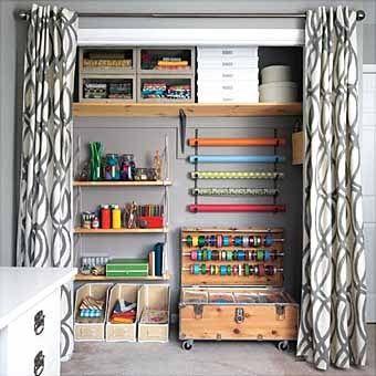 Посмотрите, какая комната у вас имеет свободное пространство. Небольшую территорию можно выделить под хранение тесьмы, лент,  лоскутков ткани, кружев. Это может быть даже место за дверью, завешенное аккуратно шторами.