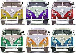 VW CAMPER VAN STICKER WALL DECAL OR IRON ON TRANSFER T-SHIRT FABRICS FACE VIEW | eBay