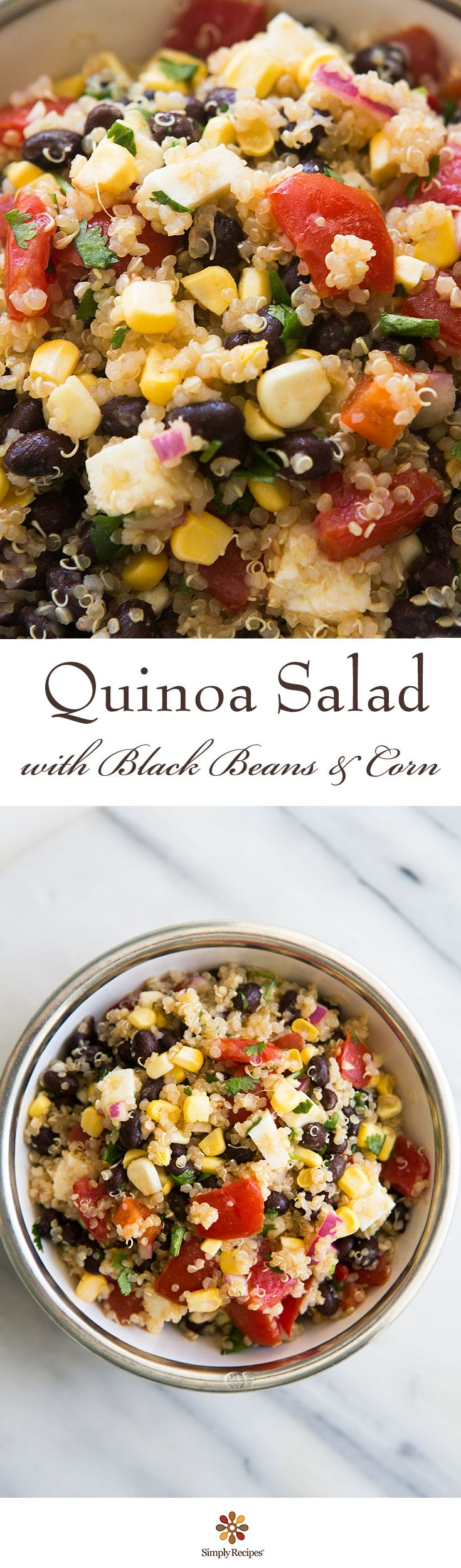 Mexican Quinoa Salad! WIth black beans, corn, fresh tomatoes, jalapeños, farmers cheese, lime juice, and cilantro. Easy, healthy, and delicious!!! ~ SimplyRecipes.com