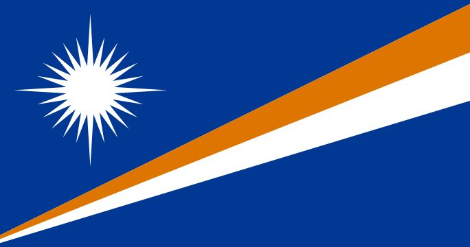 The flag of Marshall Islands was officially adopted on May 1, 1979. The islands, long a part of the U.S. Trust Territory of the Pacific Islands, gained their independence in 1979, and hoisted this striking flag. The orange and white stripes are symbolic of the two side-by-side island chains within the Marshalls, the Rotok and Ralik. The blue field represents the surrounding Pacific Ocean, and the white star has a point for each district - 24 in all.