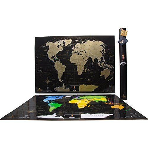 World Travel Tracker Map. Scratch your travels. US States, Flags and Gift Packaging