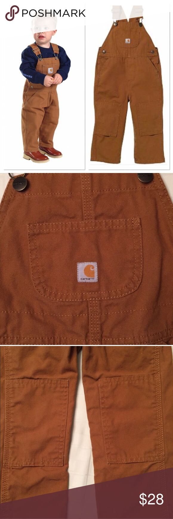 Carhartt Bibs little boys 4t toddler overalls Reposh! These were too big for my little guy. In perfect new condition size 4T 🤗 Tags: bibs overhauls snow pants overalls.  See note below and screenshot. Carhartt Bottoms Overalls