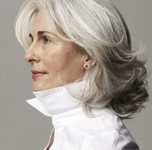 50 Gorgeous Hairstyles For Gray Hair <http://therighthairstyles.com/20-gorgeous-hairstyles-for-gray-hair/> medium length style features a good lift at the roots and gorgeous flicks at the ends melting into foamy curls only for the ends
