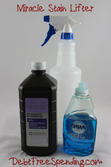 Miracle Stain Lifter Dawn Hydrogen Peroxide! We have a great list of DIY cleaners, laundry soap, fabric softener, etc. Don't pay for these when you can DIY!