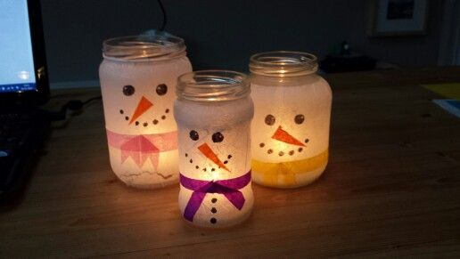 Sneeuwpop windlichten: voor sfeer te maken/versieren