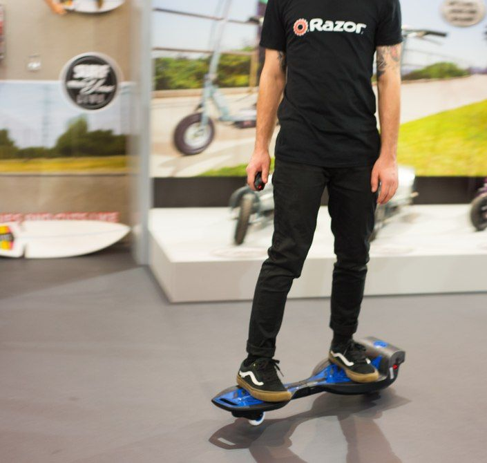 Eight years after launching the original RipStik, Razor has created an electric-powered version of its caster board two-wheeled ride-on. The RipStik Electric features an in-wheel hub motor and is controlled by a joystick-style remote.