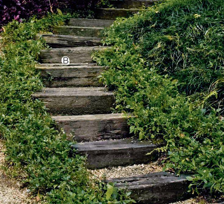 """A escada foi construída com dormentes (B) de uma antiga estação de trem. """"Como ela fica numa área de sombra, optei por pedriscos entre os degraus para evitar escorregões"""", explica o paisagista Luiz Carlos Orsini. Caso apareça limo na pedra ou na madeira, basta limpar com esguicho ou máquina de pressão – duas ou três vezes por ano são suficientes."""