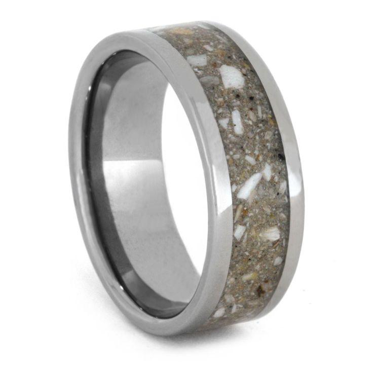 Pet Memorial Ring, Titanium Band with Pet Ashes