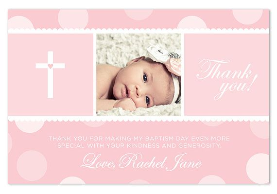 Baptism / Christening Thank You Card - Blue/Pink