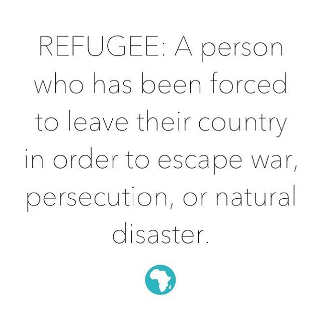 """""""This definition has been my understanding of a refugee for years and the images we see on US television paint a grim reality which thousands endure each year as they are impacted by trauma forcing them from their homes."""" Emily Blackledge, #mochaclub president."""