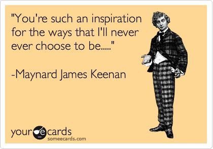'You're such an inspiration for the ways that I'll never ever choose to be.....' -Maynard James Keenan.
