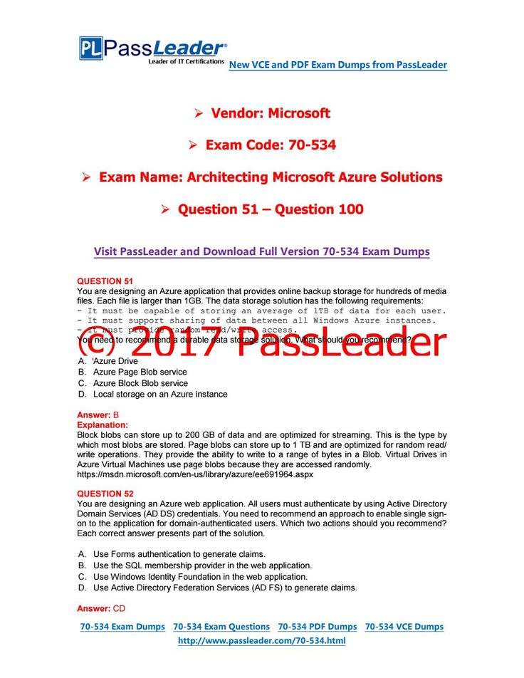 2017 PassLeader 70-534 Dumps With VCE And PDF (Question 1 - Question 50)