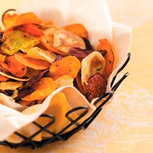Baked Veggie Chips - 1/2 cup equals 108 calories, 5 g fat (1 g saturated fat), 1 mg cholesterol, 220 mg sodium, 15 g carbohydrate, 2 g fiber, 2 g protein. Diabetic Exchanges: 1 starch, 1 fat.