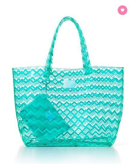 PINK NEW! BEACH TOTE BAG Color: Ultra Aqua