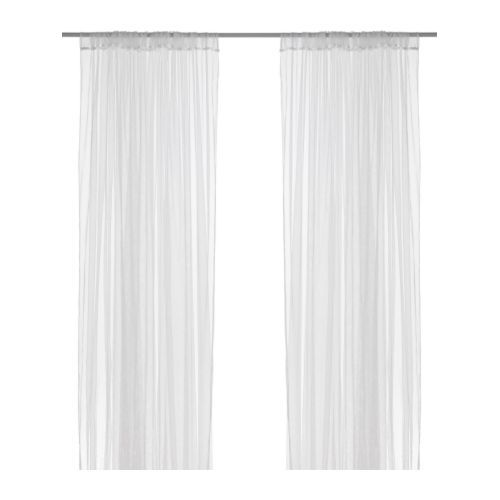 "Sheer curtains to use as mosquito netting on porch. 98"" long, 110"" wide. $4.99 at Ikea."