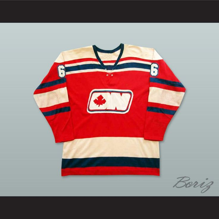 """WHA 1972-73 Ottawa Nationals Brian Gibbons 6 Away Hockey Jersey. STITCH SEWN GRAPHICS  CUSTOM BACK NAME CUSTOM BACK NUMBER ALL SIZES AVAILABLE SHIPPING TIME 3-5 WEEKS WITH ONLINE TRACKING NUMBER Be sure to compare your measurements with a jersey that already fits you. Please consider ordering a larger size, if you prefer a loose fit. HOW TO CALCULATE CHEST SIZE: Width of your Chest plus Width of your Back plus 4 to 6 inches to account for space for a loose fit. Example: 18"""" wide chest plus…"""
