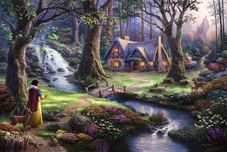 Snow White Discovers the Cottage - Thomas Kinkade