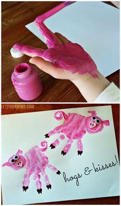 Handprint Pig Valentine Craft for Kids or a Farm Art Project | CraftyMorning.com