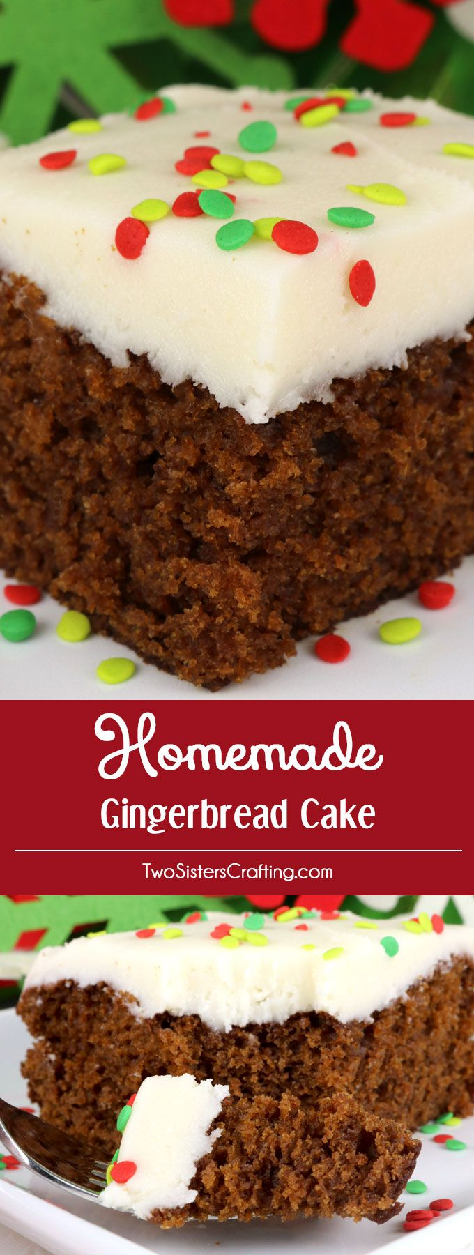Homemade Gingerbread Cake -a classic Christmas cake recipe topped with our super delicious Best Cream Cheese Frosting and boy is it easy to make.  Your family, friends and Holiday party guests will be impressed when you serve this super yummy Christmas dessert. What a fun and delicious Gingerbread Christmas Treat. Pin this easy Christmas Dessert for later and follow us for more great Christmas Food ideas. #ChristmasCake #ChristmasDesserts #ChristmasTreats #Gingerbread