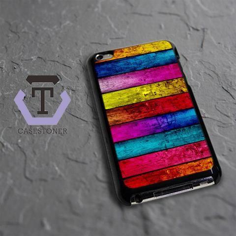 Wood Full Colour iPod 4 Black Case