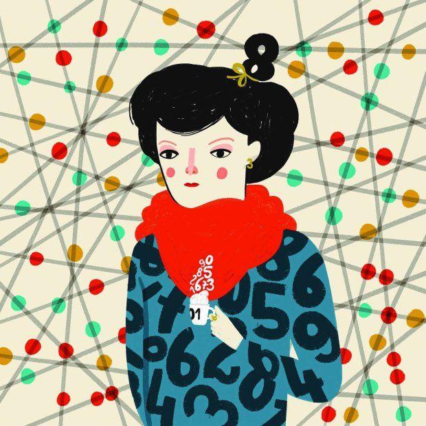 """Rys. Aleksandra Woldańska, ilustracja pochodzi z artykułu Olgi Woźniak: """"Ścisłe panny. Talenty matematyczne traci się już w szkole podstawowej"""""""