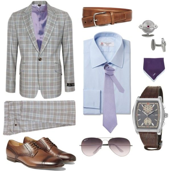 Vivienne Westwood suit is updated with IWC watch and GP cufflinks. #plaid #lightblue #cognac #aviators #lavender #cufflinks #menswear #watch Plaid at the Office by ashford-watches on Polyvore