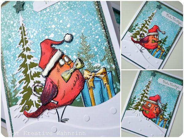 Heute gibt es gleich zwei Weihnachtskarten :)   Die Bird Crazy von Tim Holtz durften das erste mal   Weihnachtsfummel tragen:     Das St...