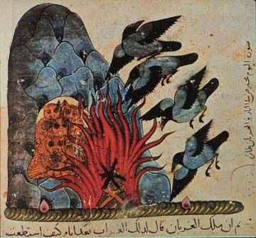 Kalila and Dimna Crows Revenge. Mamluk book. Egypt Syria, mid 14th c.