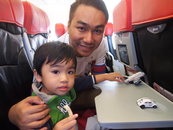 with my son (JCK) at plane to Bali