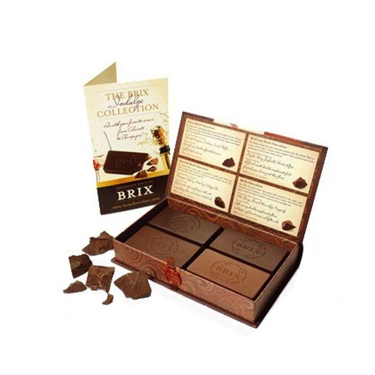 Brix collection pakket, Heerlijke chocolade, perfect voor bij wijn.  Met tasting guide. www.vanbirwijnplezier.nl