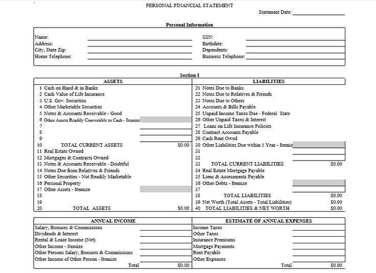 Download free blank personal financial statement template