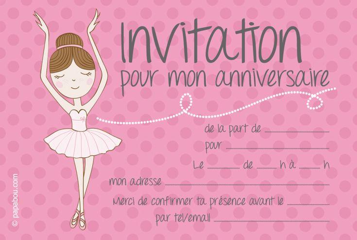 invitation anniversaire ballerine