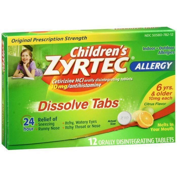 Zyrtec 24 Hour Allergy Dissolve Tablets 12 Tablets In 2021 Zyrtec Allergy Medicine For Kids Kids Allergies
