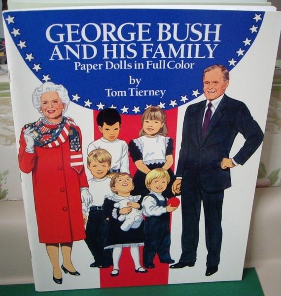 George Herbert Walker Bush and Family Paper Doll Booklet, 1990, Uncut